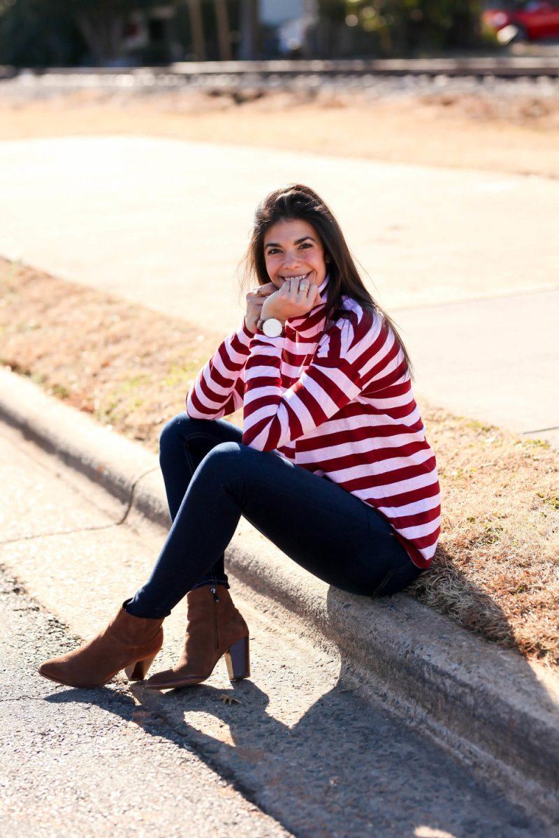 pink & red striped turtleneck - Casual Valentine's Day Outfit - Lauren Schwaiger