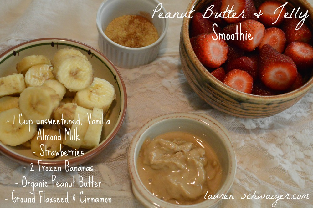 Strawberry Banana Peanut Butter & Jelly Smoothie Recipe - LaurenSchwaiger.com
