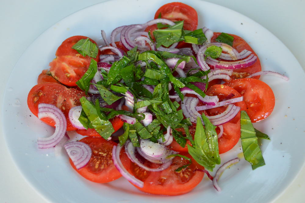 Tomato + Basil + Onion Salad - laurenschwaiger.com
