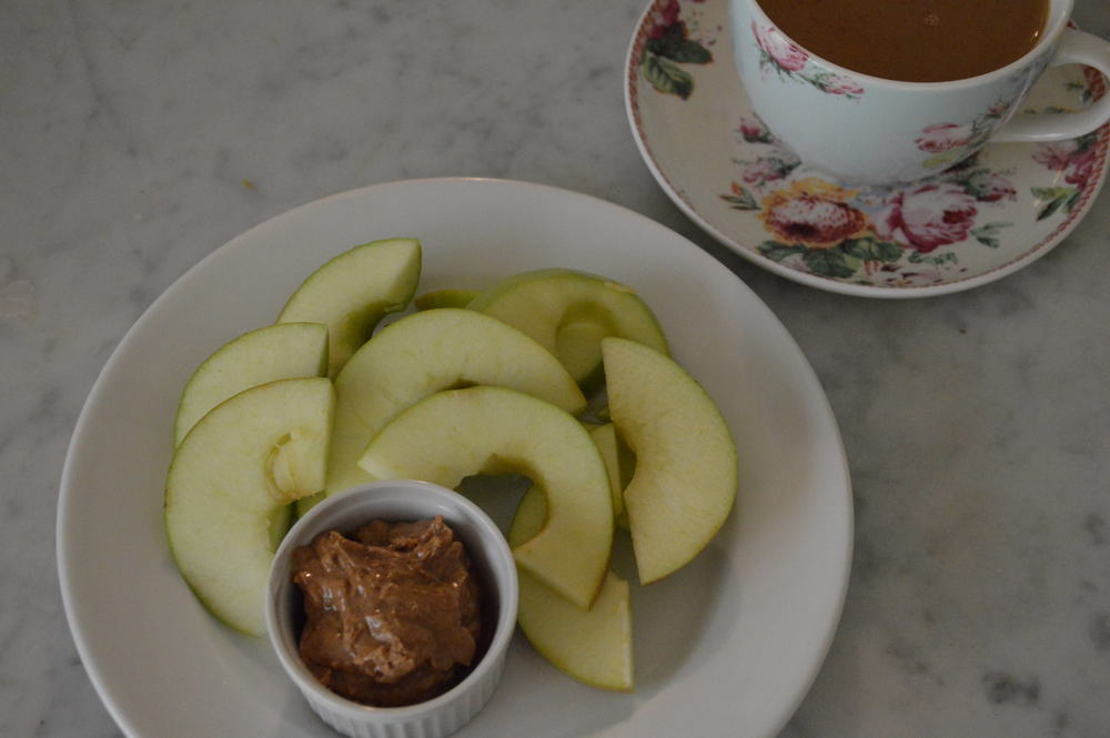 apple & almond butter with coffee