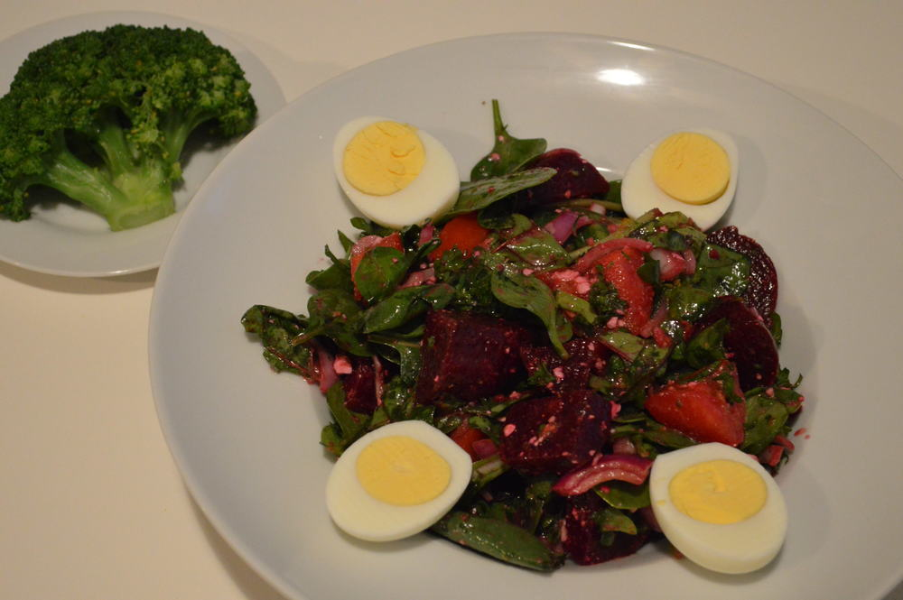 mixed greens, beet salad