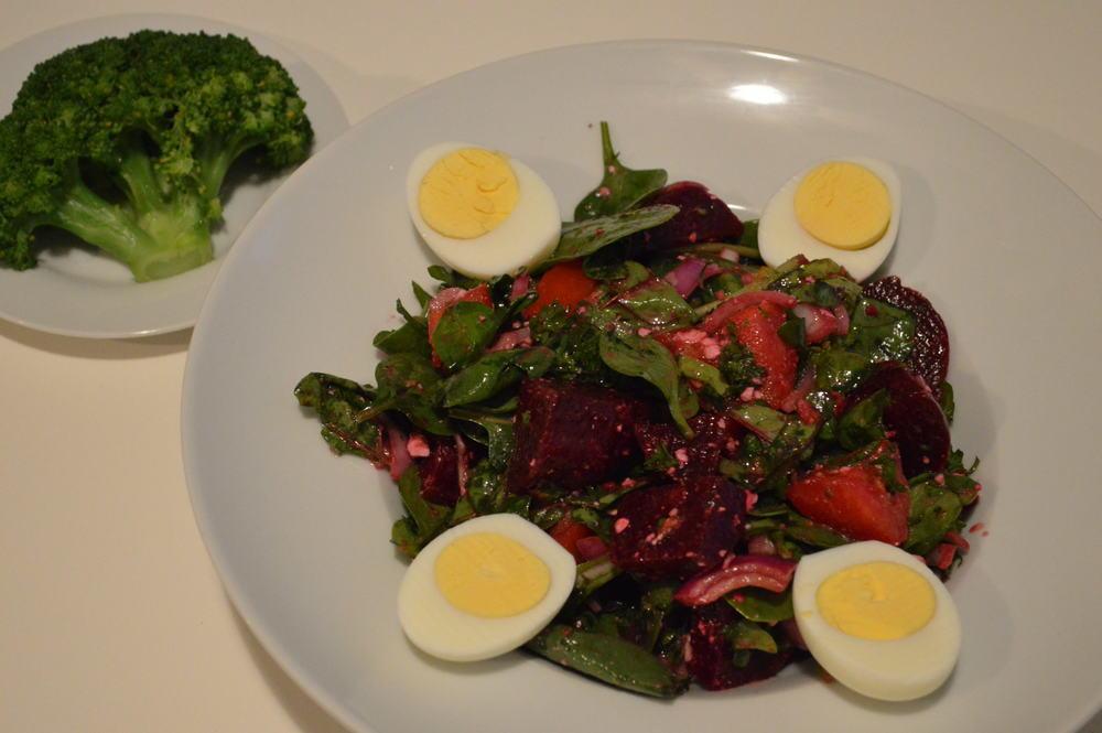 mixed greens, beet salad