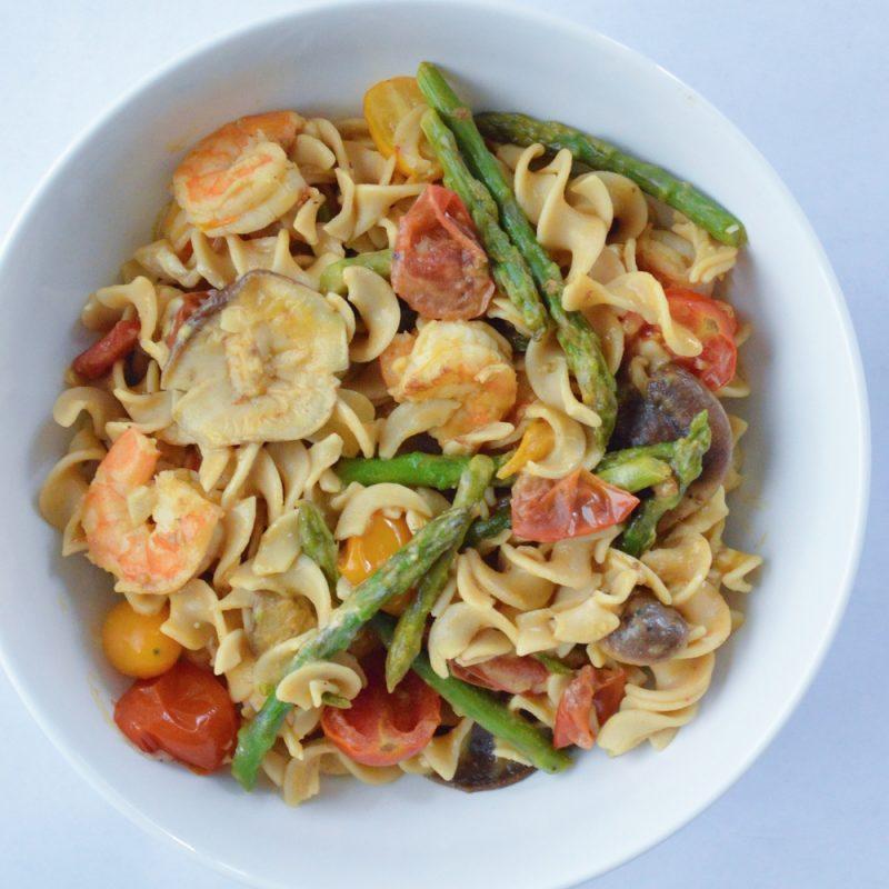 Gluten Free Red Lentil Fettuccine with Shrimp & Veggies