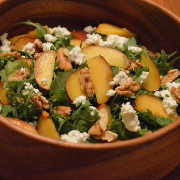 Peach, Walnut & Goat Cheese Kale Salad