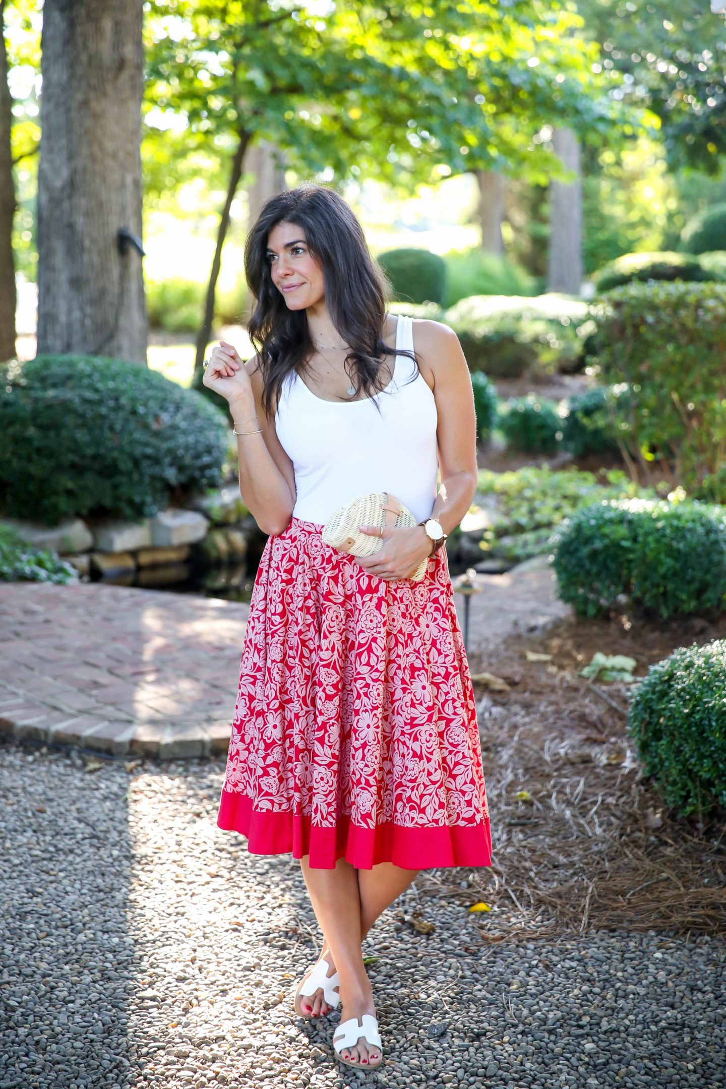 Anthropologie Red Floral Midi Skirt - Summer Outfit Inspiration - Lauren Schwaiger