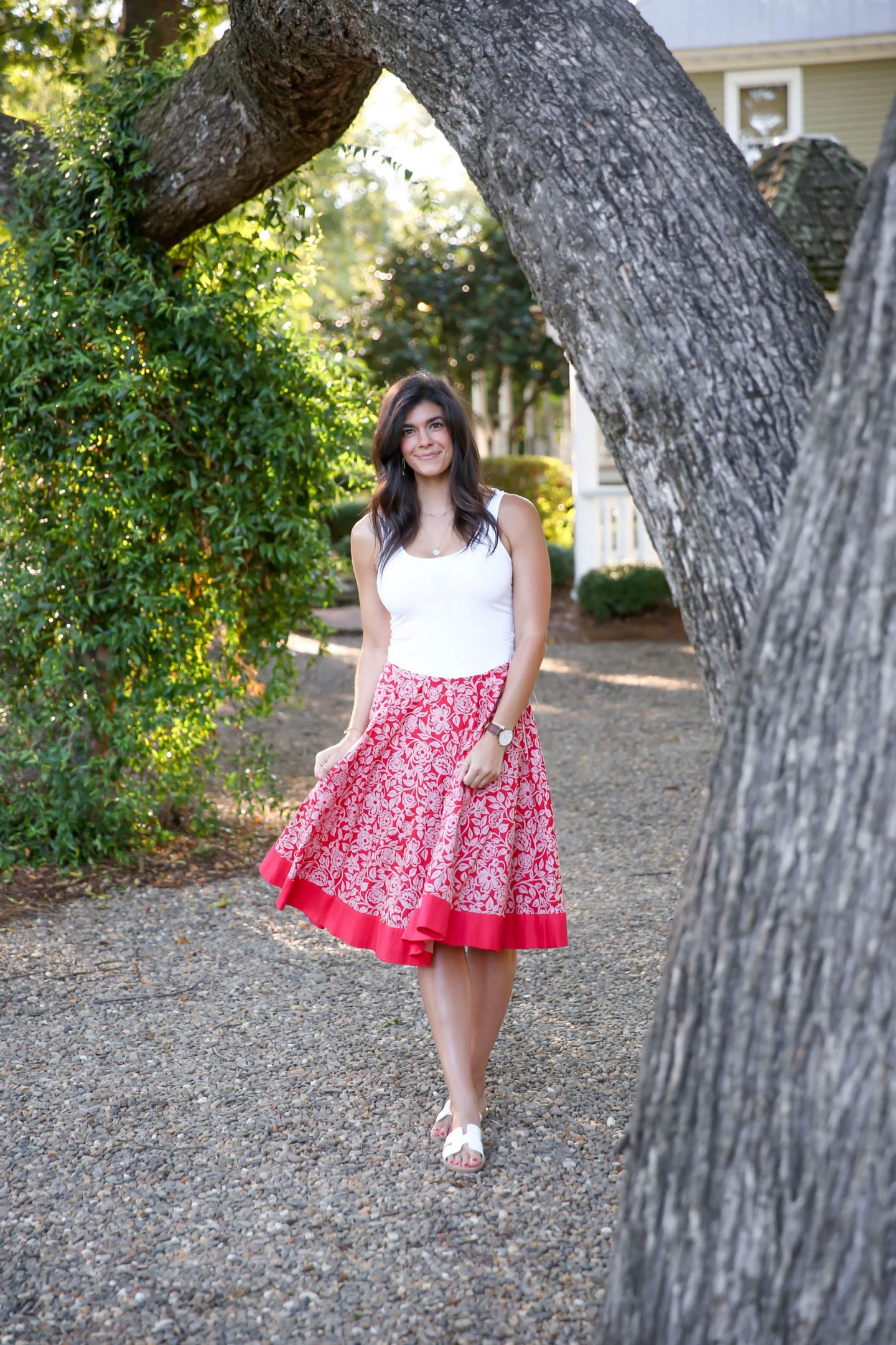 Red Floral Midi Skirt - Summer Style Inspiration - Lauren Schwaiger