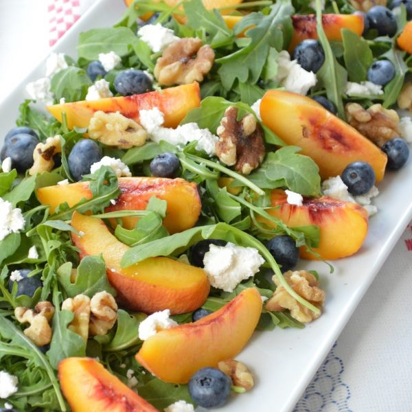 Summer Salads // Arugala Peach & Blueberry Salad w/ Walnuts & Goat Cheese