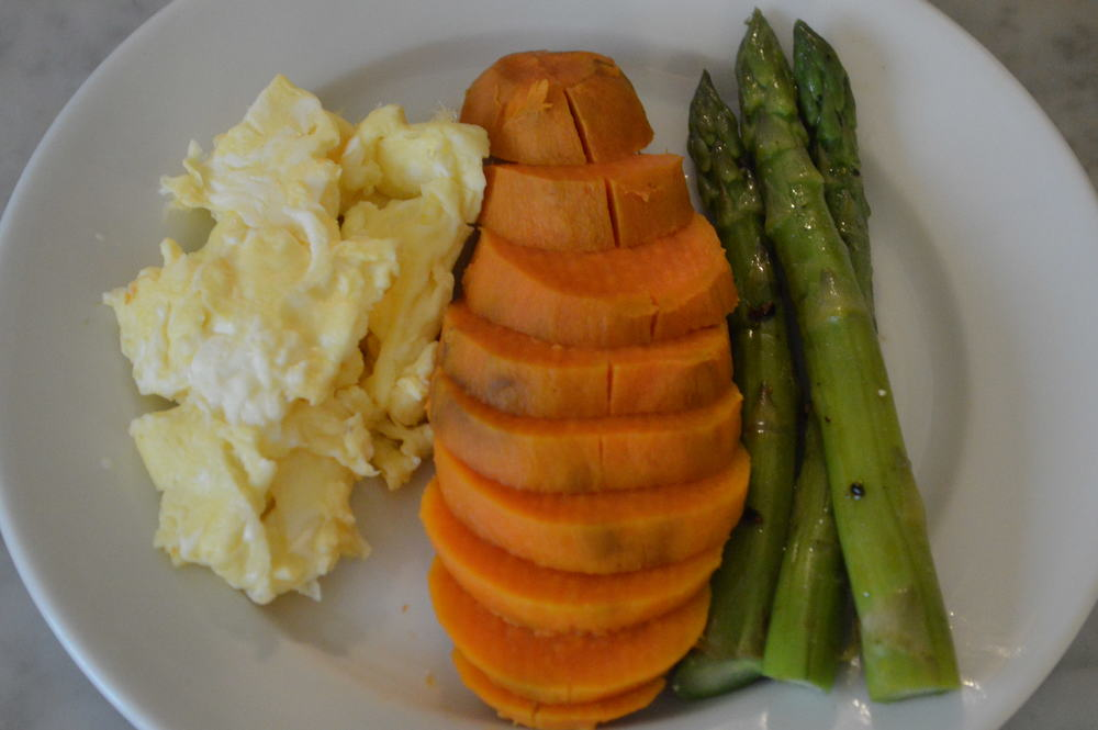 Sweet Potato + Eggs + Asparagus