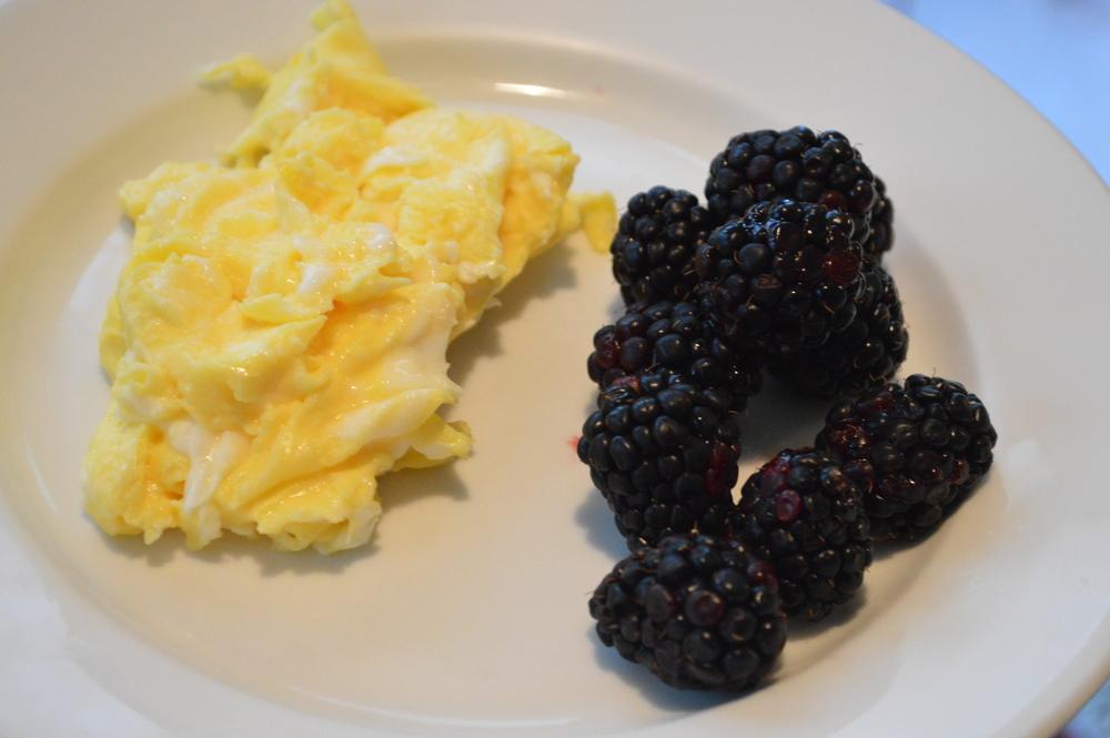 Scrambled Eggs + Blackberries