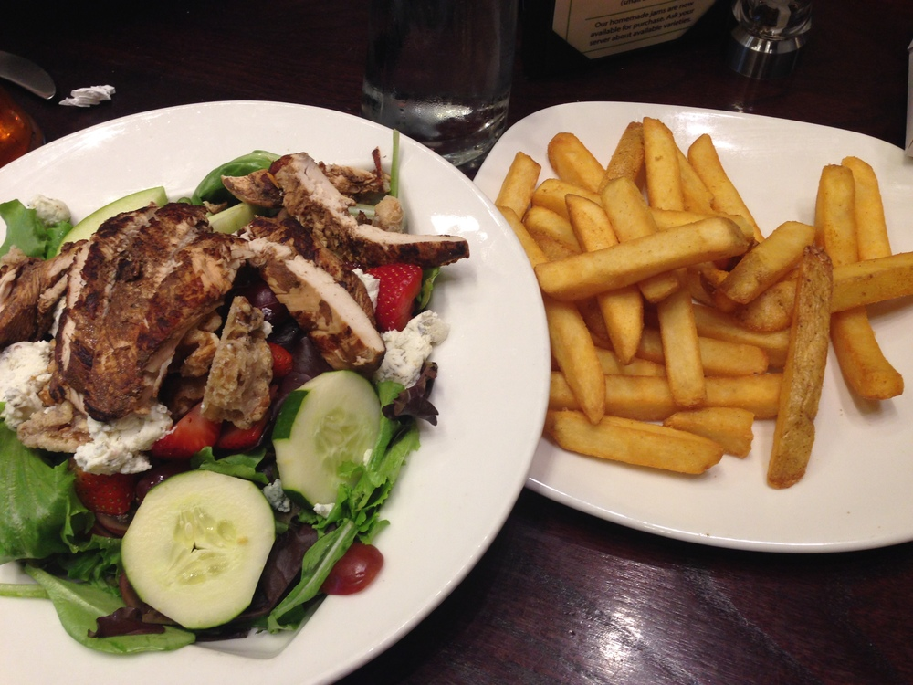 Grilled Chicken Salad & French Fries