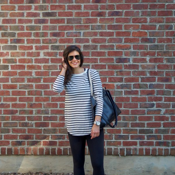 Athleisure: Leggings + Black & White Stripe Long Sleeve