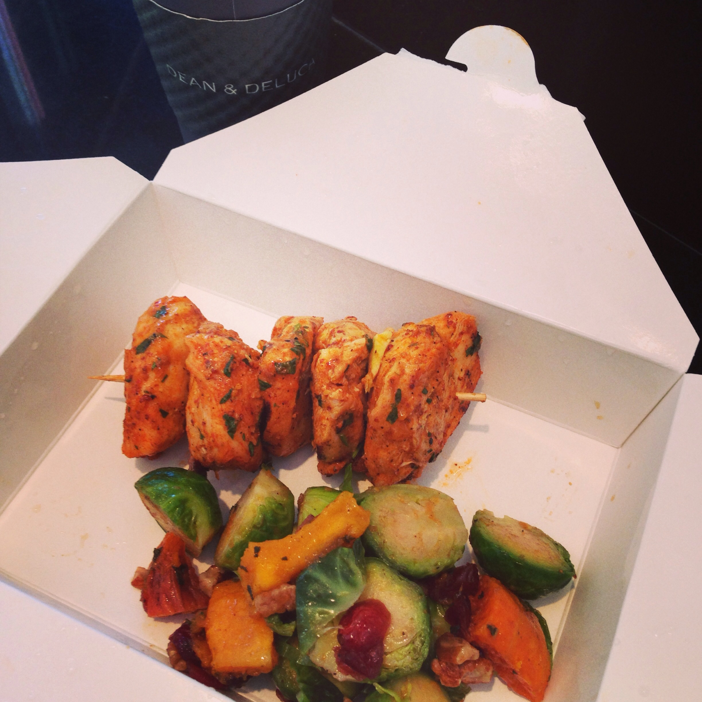 Chicken kabob & Brussels sprouts salad