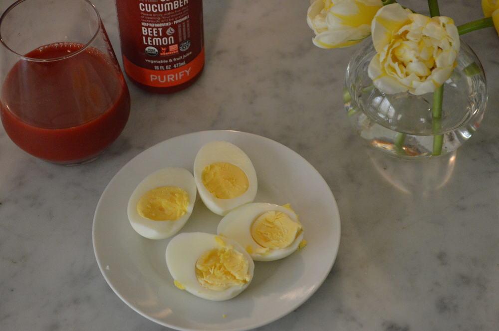 hard boiled eggs + beet juice