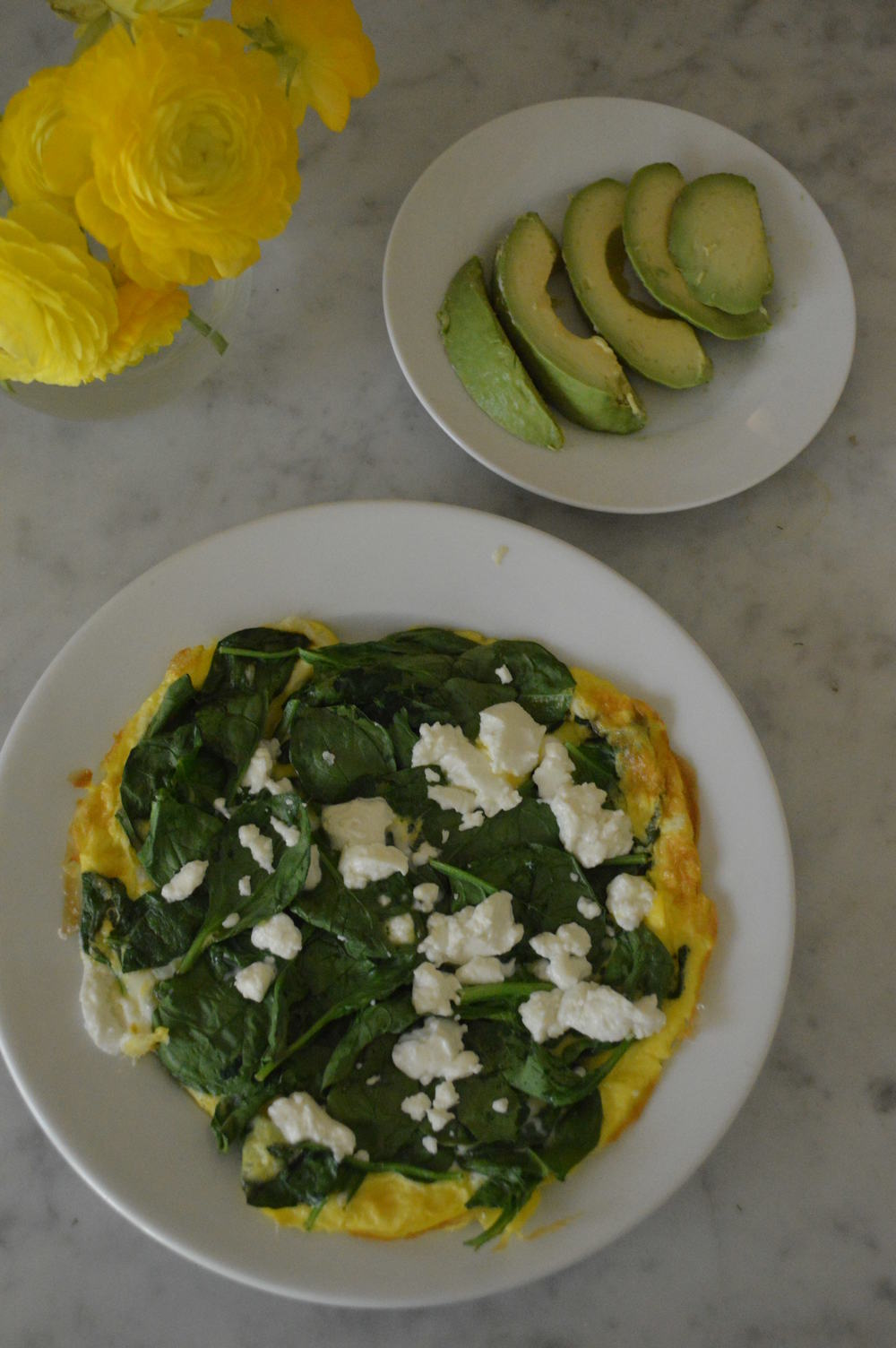 open faced spinach & goat cheese omelette
