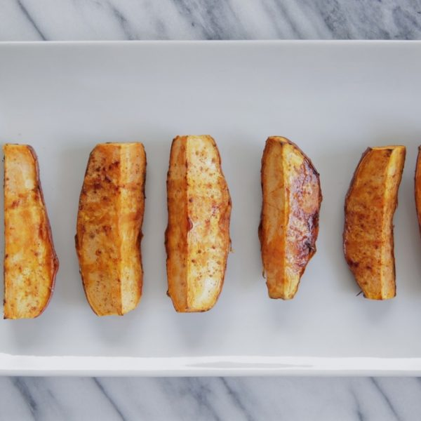 Rustic Roasted Sweet Potatoes w/ Cinnamon, Cayenne Pepper & Maple Syrup