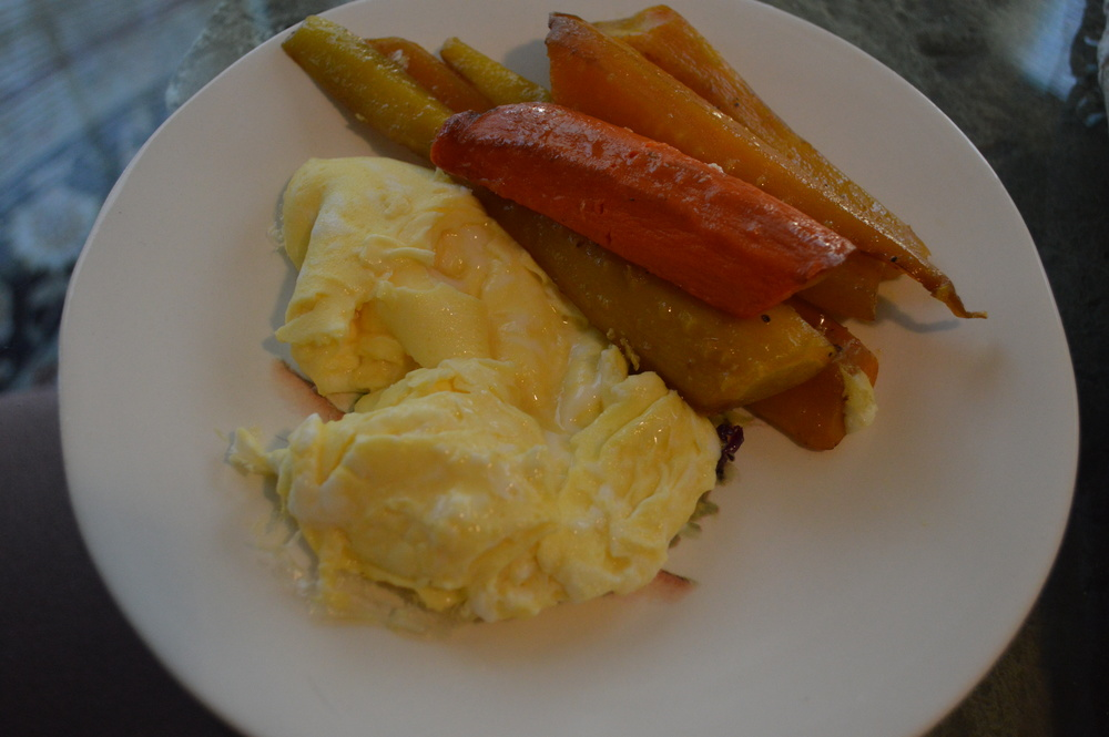 Scrambled Eggs + Roasted Carrots