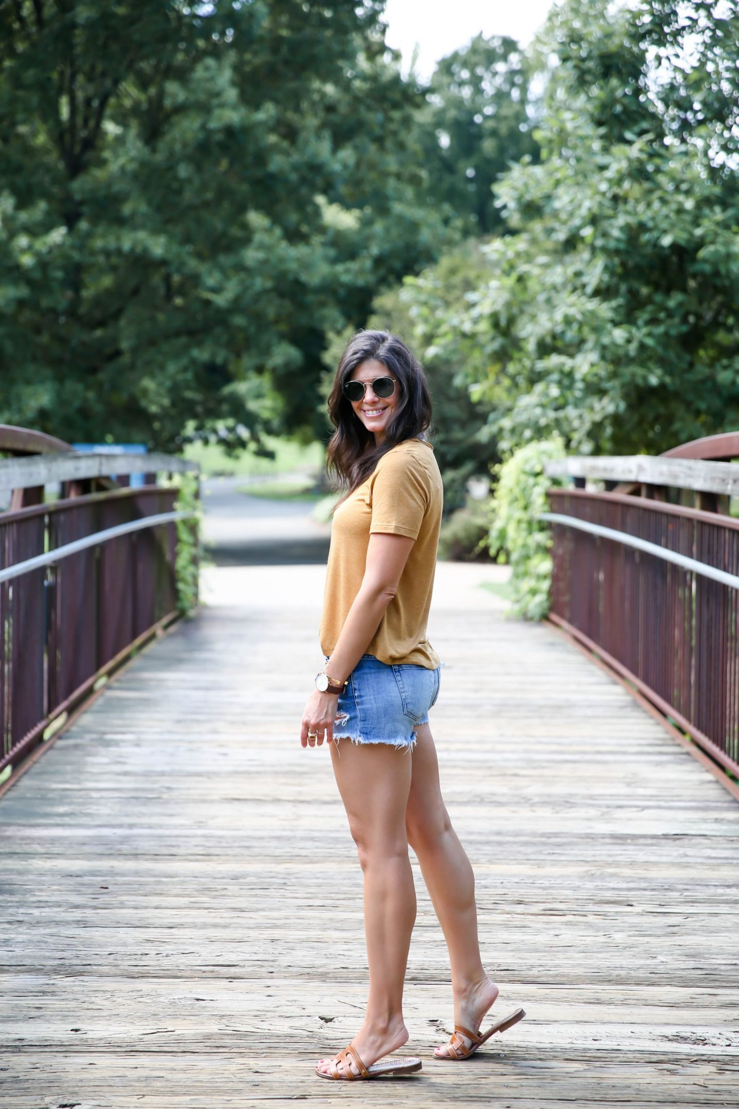 denim shorts - mustard tee - Lauren schwaiger Style Blog