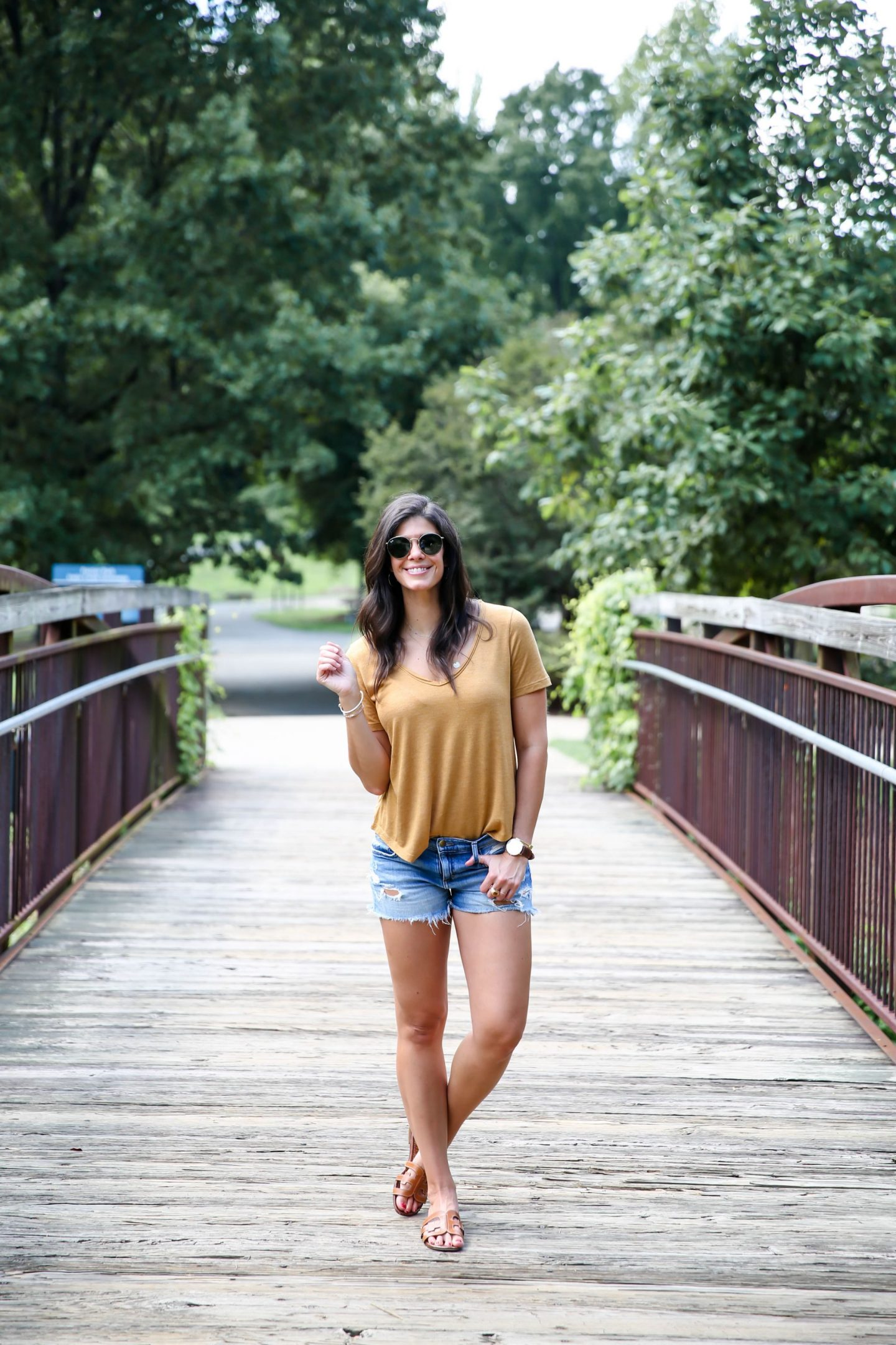 denim shorts - mustard v-neck tee - casual summer style