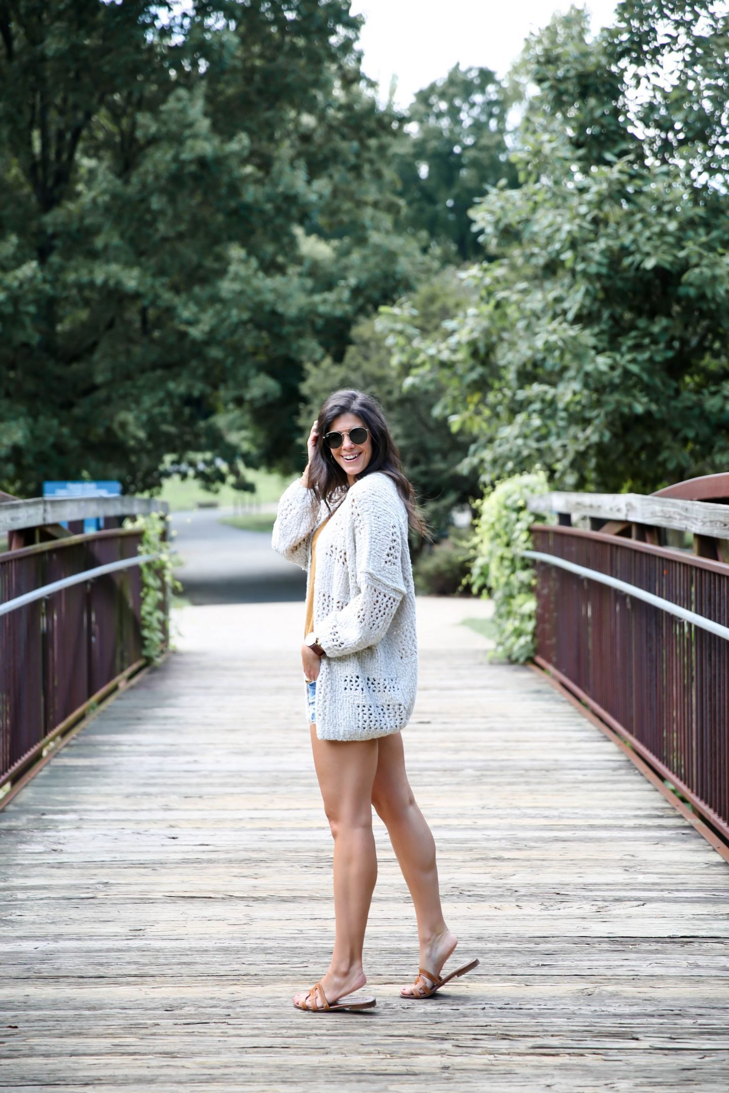 late summer style - shorts - cozy cardigan - Lauren Schwaiger