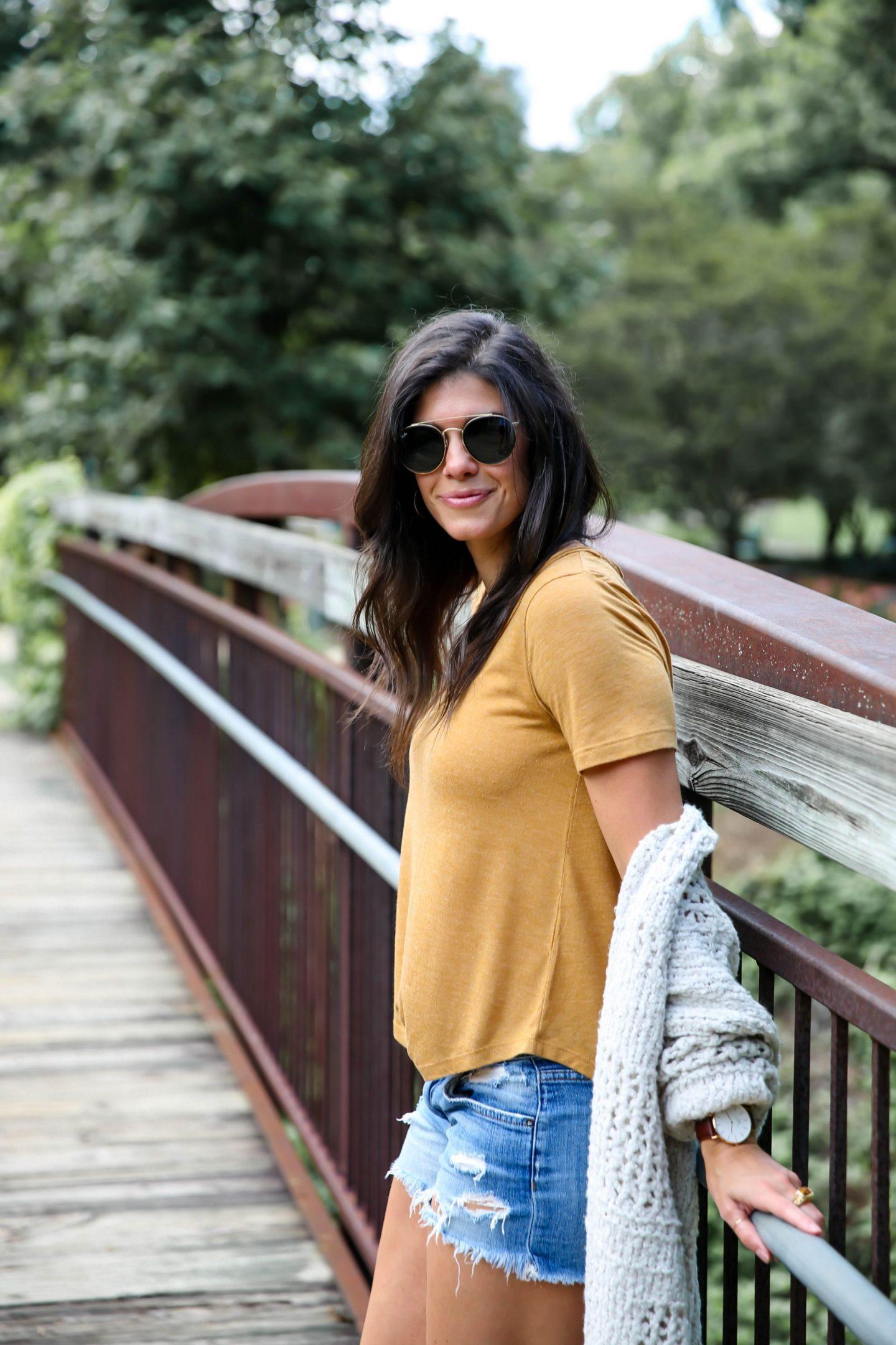 mustard tee - cozy cardigan - Lauren schwaiger style blog