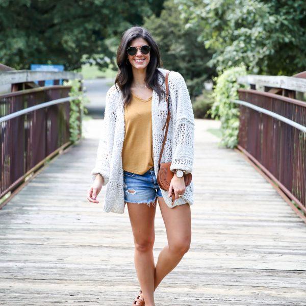Late Summer Style : Shorts + Cozy Cardigan
