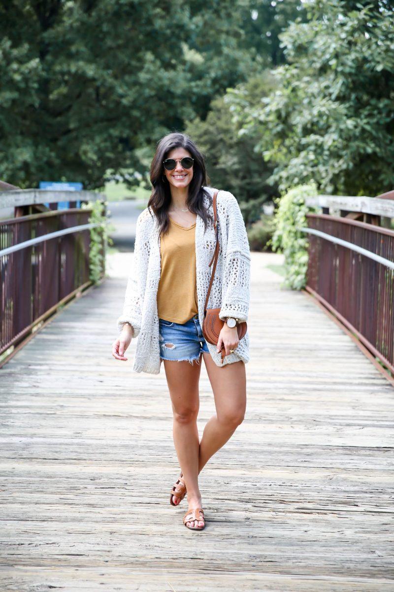 late summer style - shorts - cozy cardigan - Lauren schwaiger