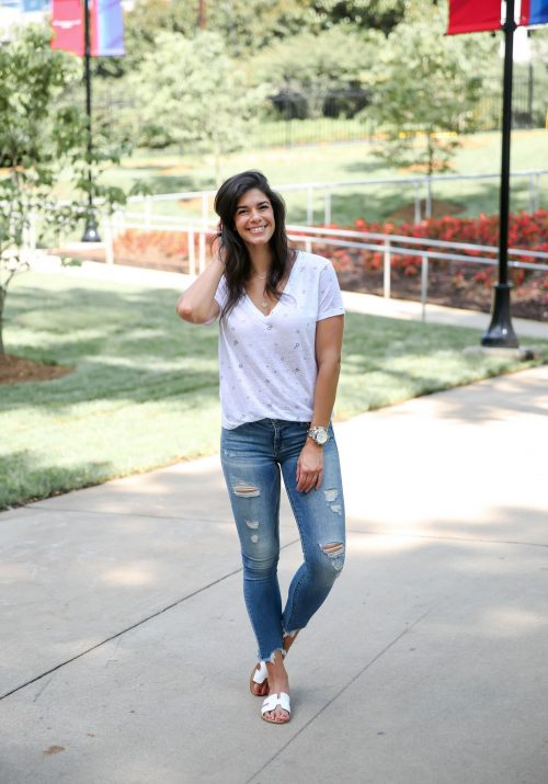 Ripped Up Skinny Jeans - Star T-Shirt - Lauren Schwaiger Style Blog