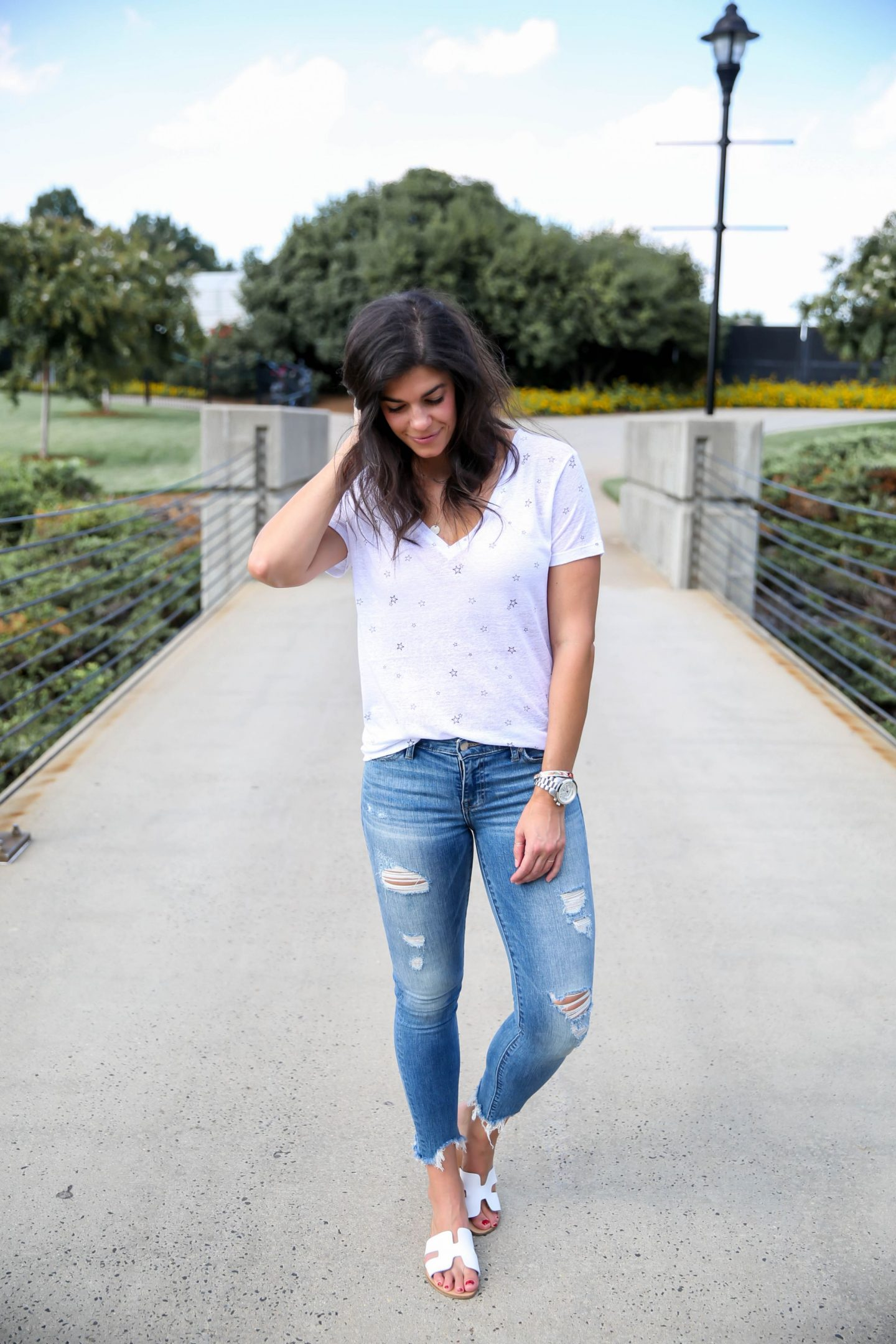 Lucky Brand Ripped Skinny Jeans - Star Tee Shirt - Lauren Schwaiger Style Blog