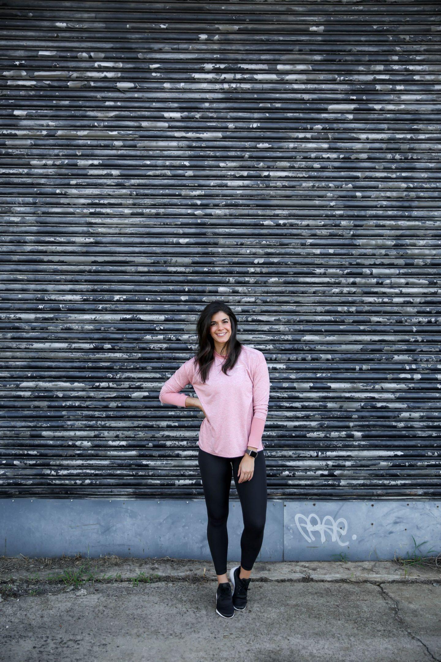 blush nike long sleeve - athleisure ootd - Lauren schwaiger
