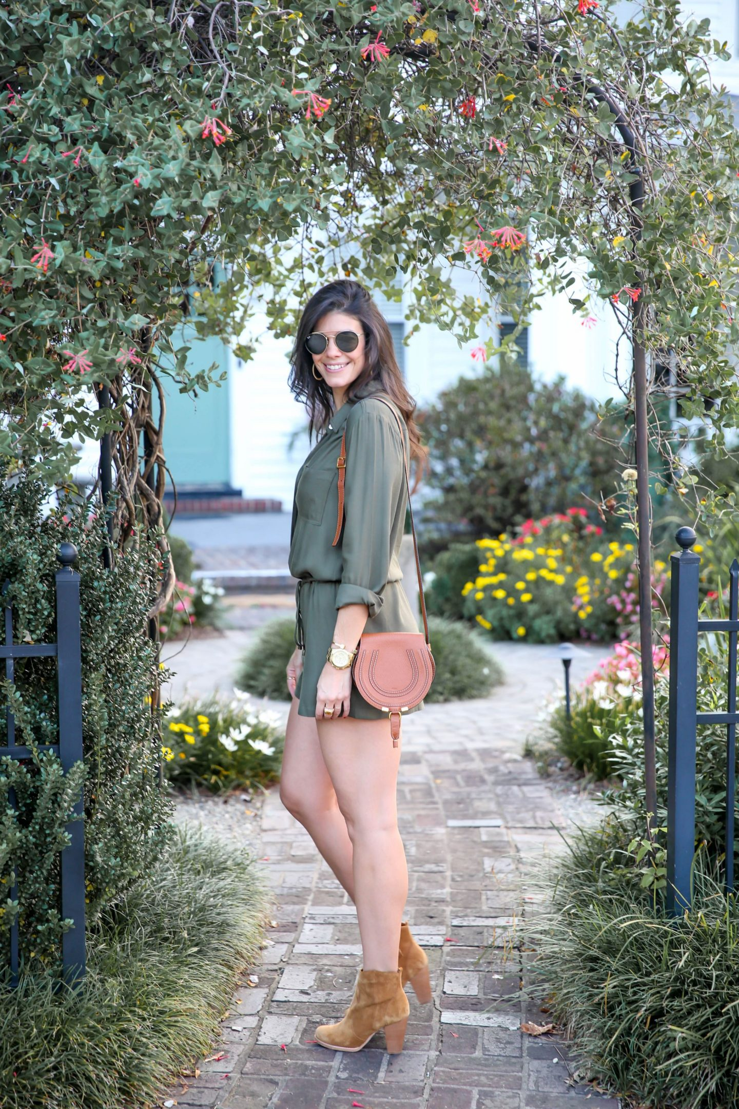 olive green long sleeve romper for fall - Lauren schwaiger blog