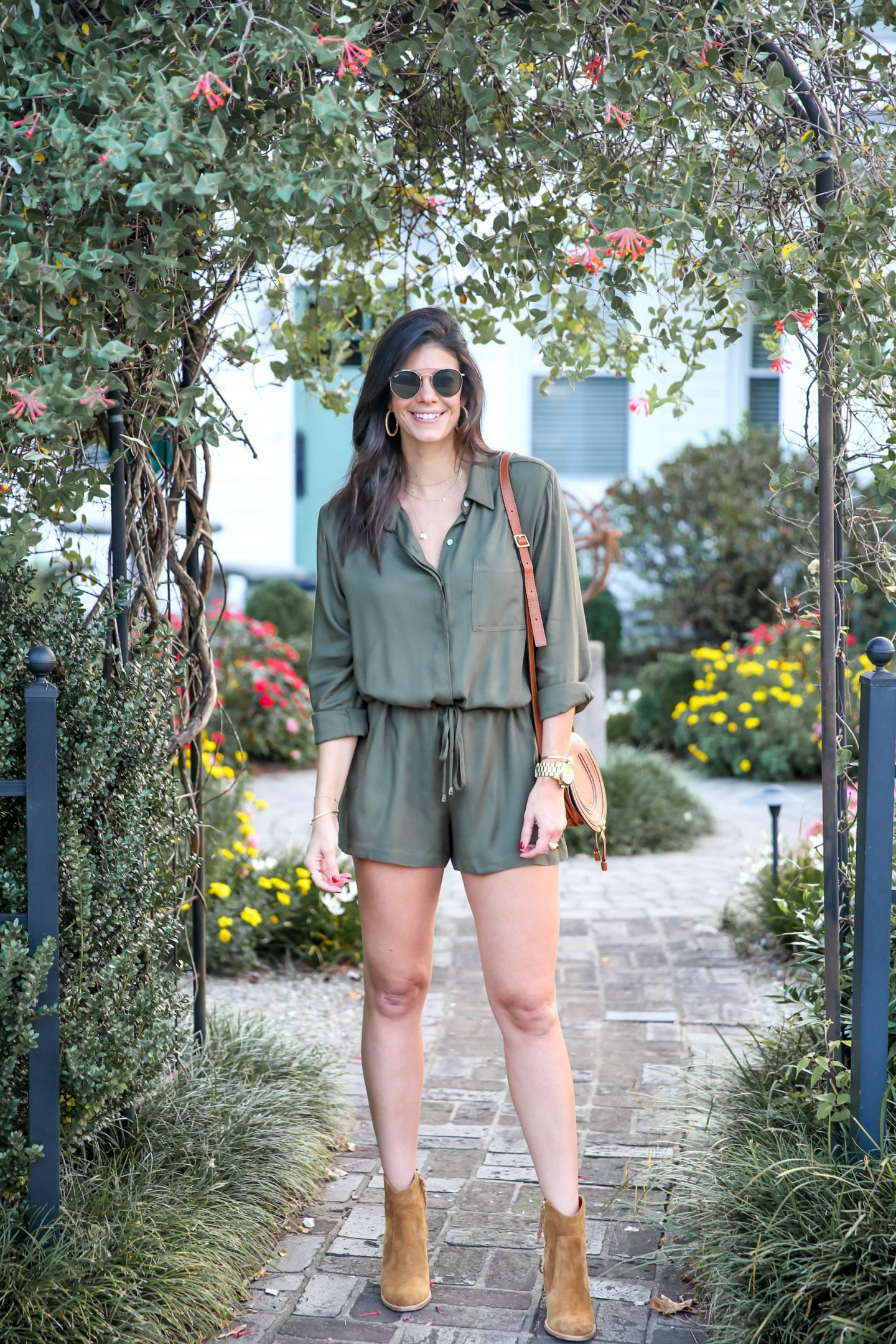 olive green romper for fall - Lauren schwaiger style blog