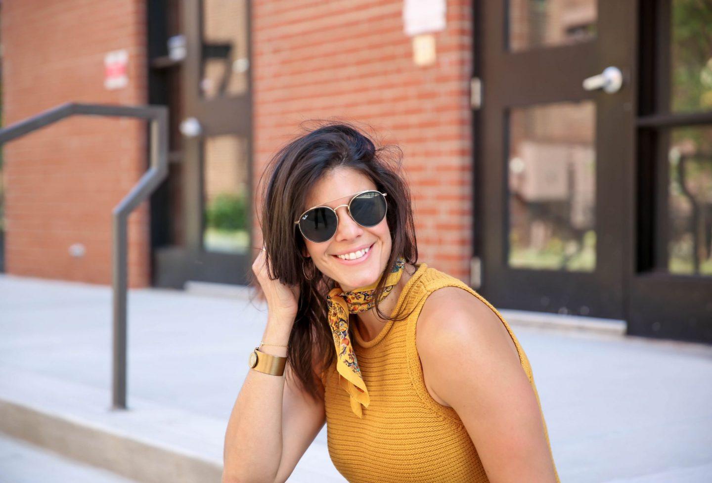 madewell mustard sweater tank - neck scarf - Lauren schwaiger style blog