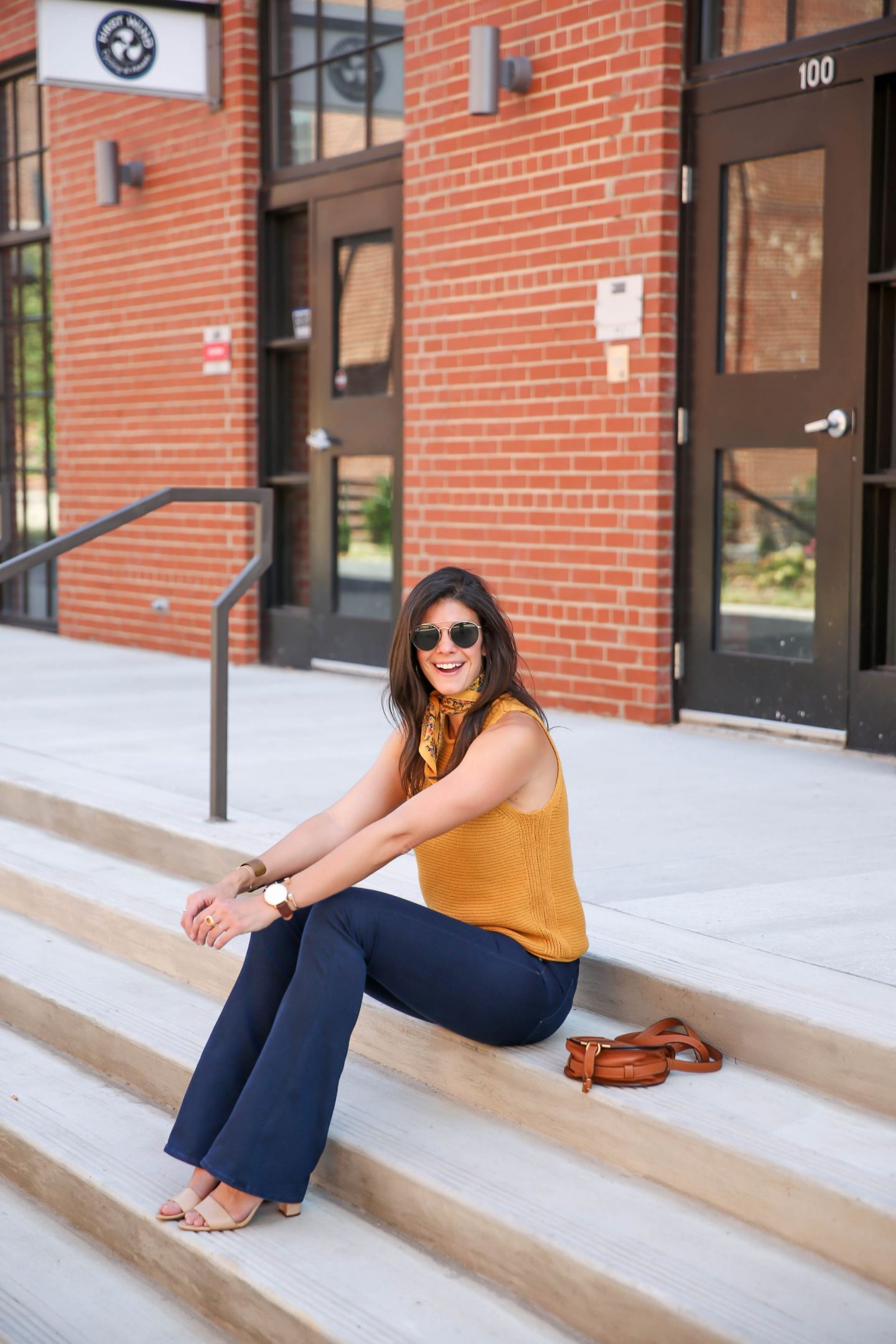 70's stye for fall - mustard sweater tank - Lauren schwaiger style blog