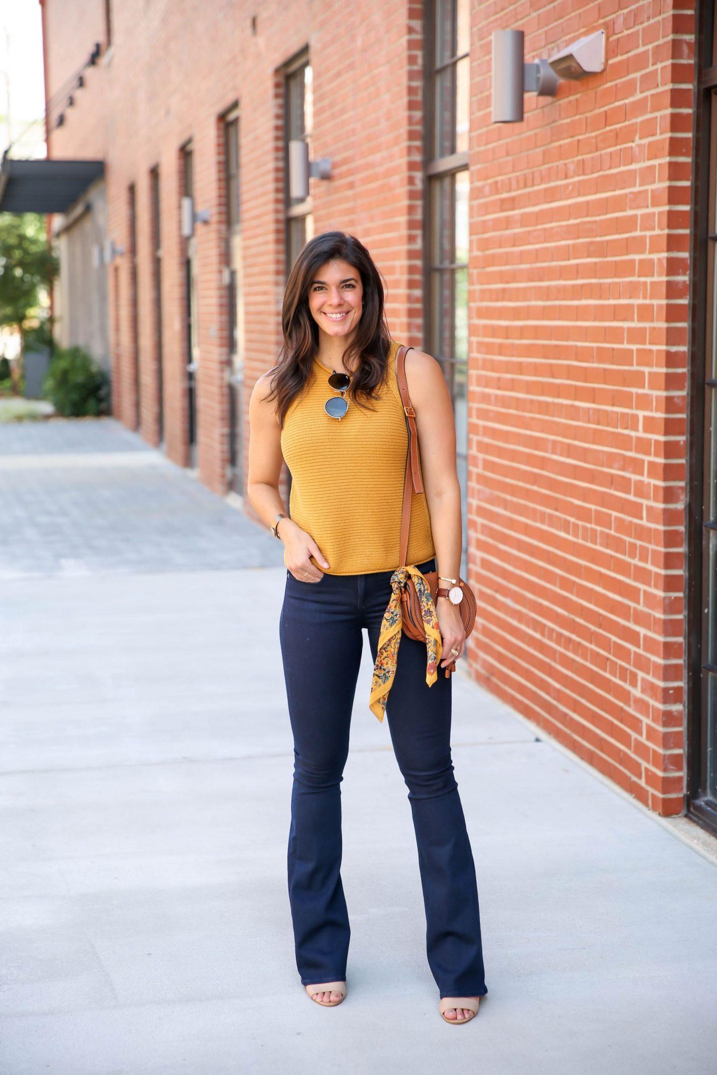 madewell sweater tank - dark denim flares - Lauren schwaiger style blogger
