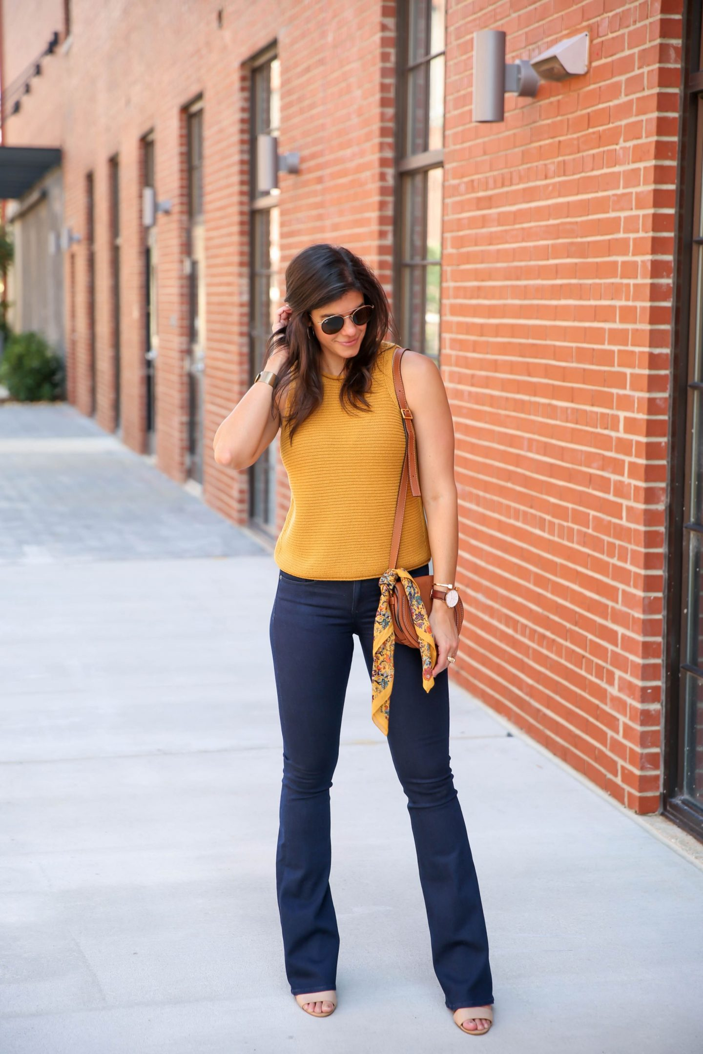 70s style for fall - mustard sweater tank - Lauren schwaiger