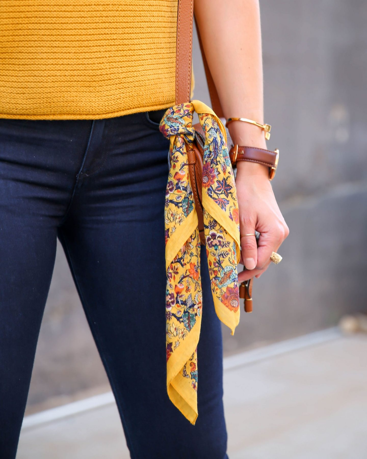bandana tied on bag - Lauren schwaiger style blog