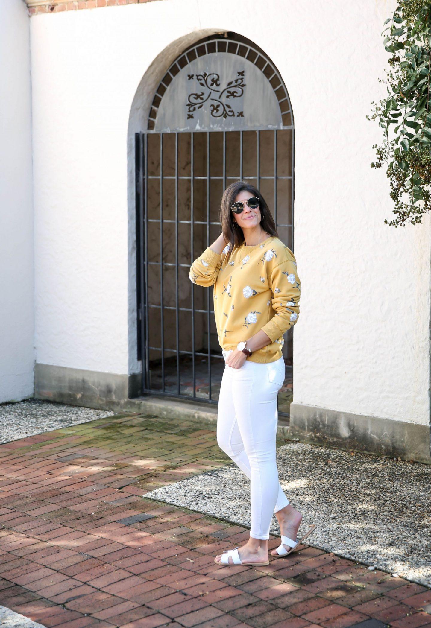 white denim - floral sweatshirt - late summer style