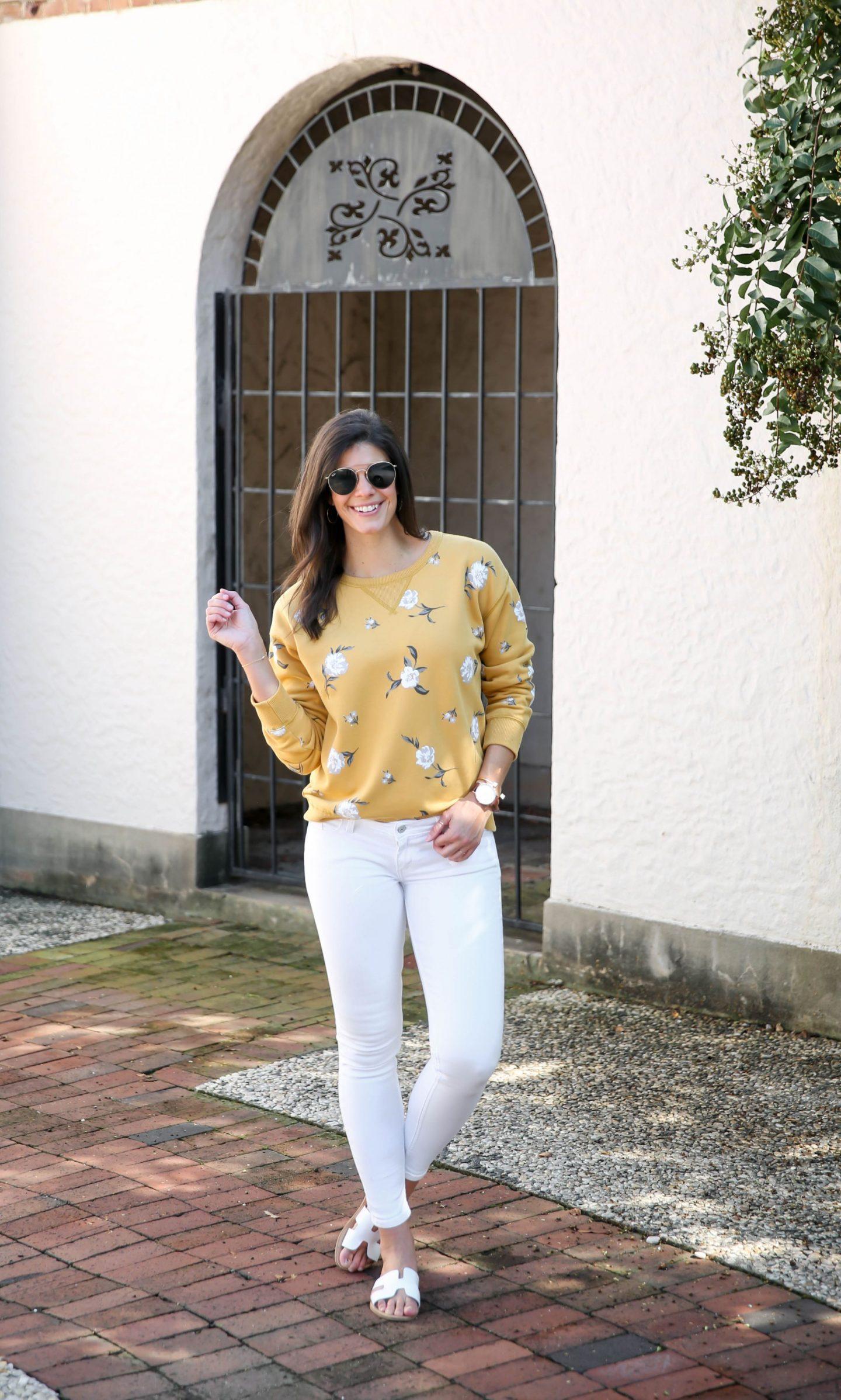 white denim - mustard floral sweatshirt - transitional style