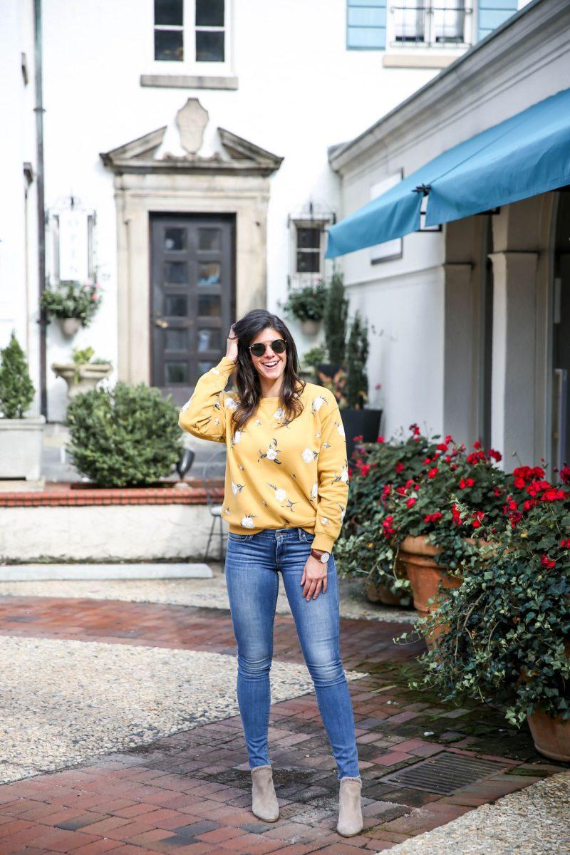 floral sweatshirts for fall - Lauren schwaiger style blog