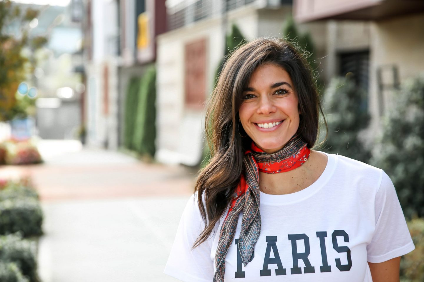 neck scarf + Paris graphic tee - Lauren Schwaiger style blog