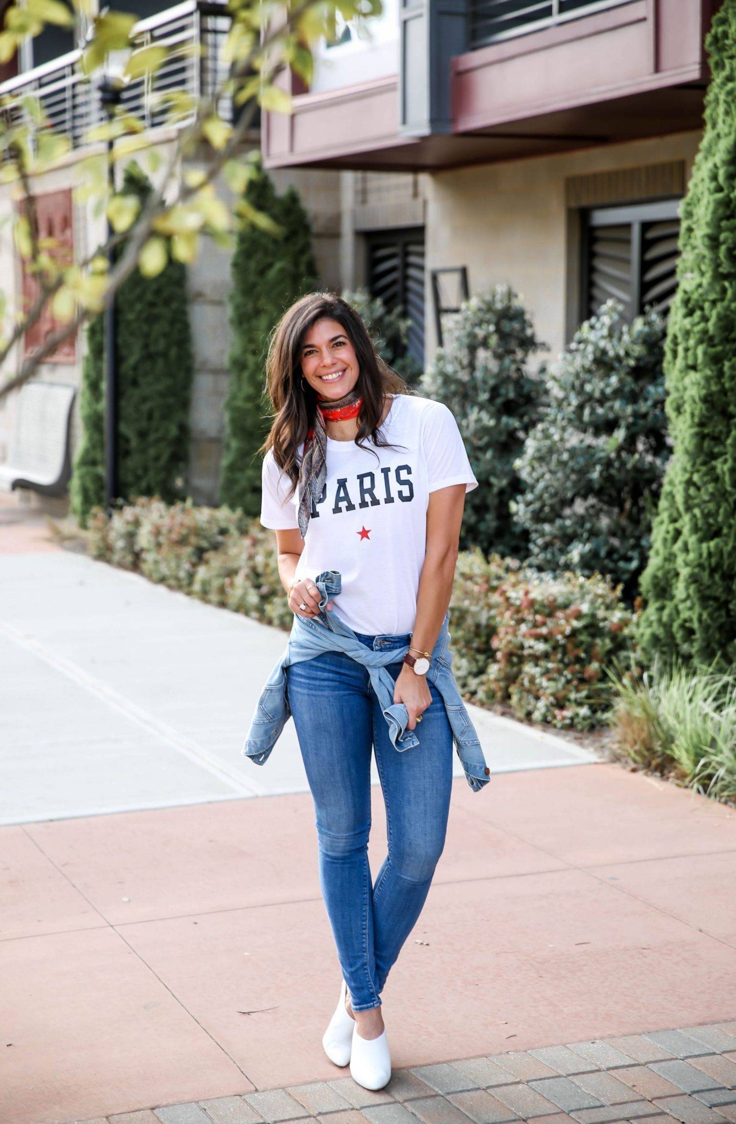 Paris Graphic Tee - Skinny Jeans - White Mules