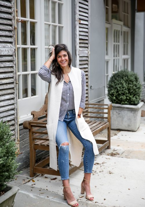 fall layers - button down - duster sweater vest - skinny jeans - Lauren schwaiger style blogger