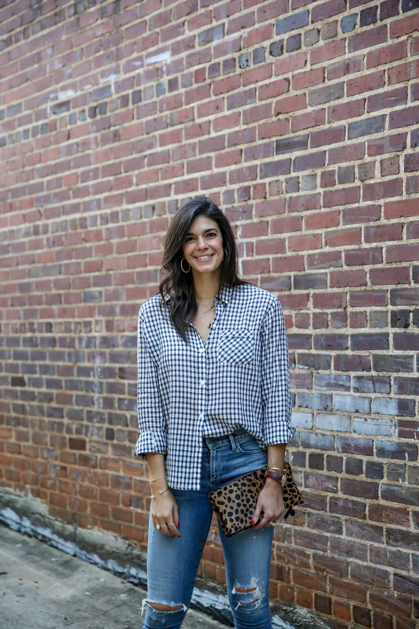 leopard clutch - checked button down - Lauren schwaiger style blogger