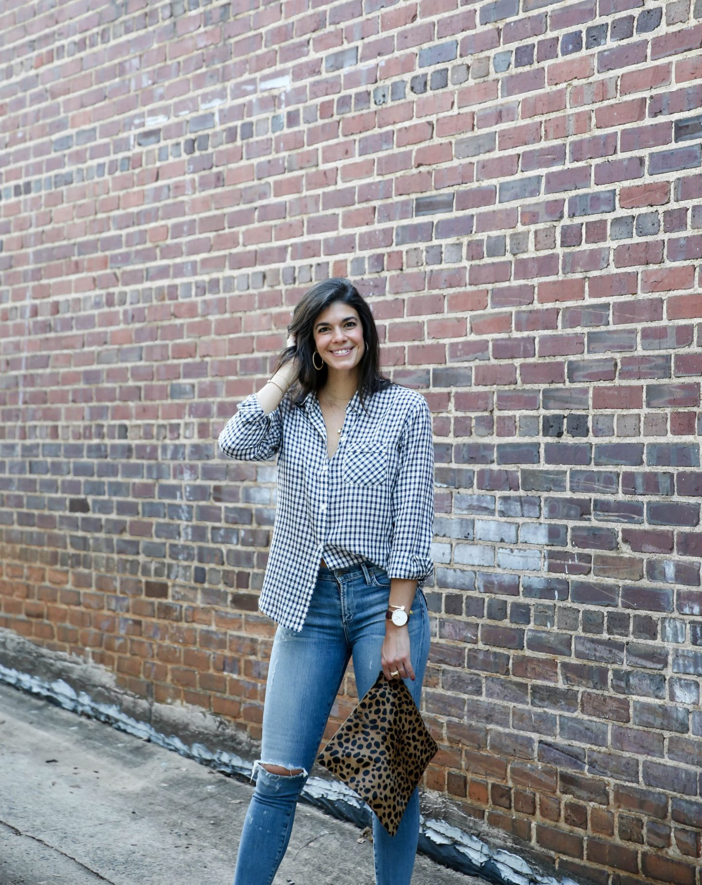 checked button down shirt - fall style - Lauren schwaiger style blog