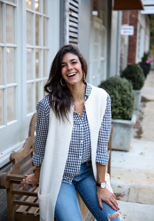 sweater vest - button down - fall -layers - Lauren schwaiger style blog