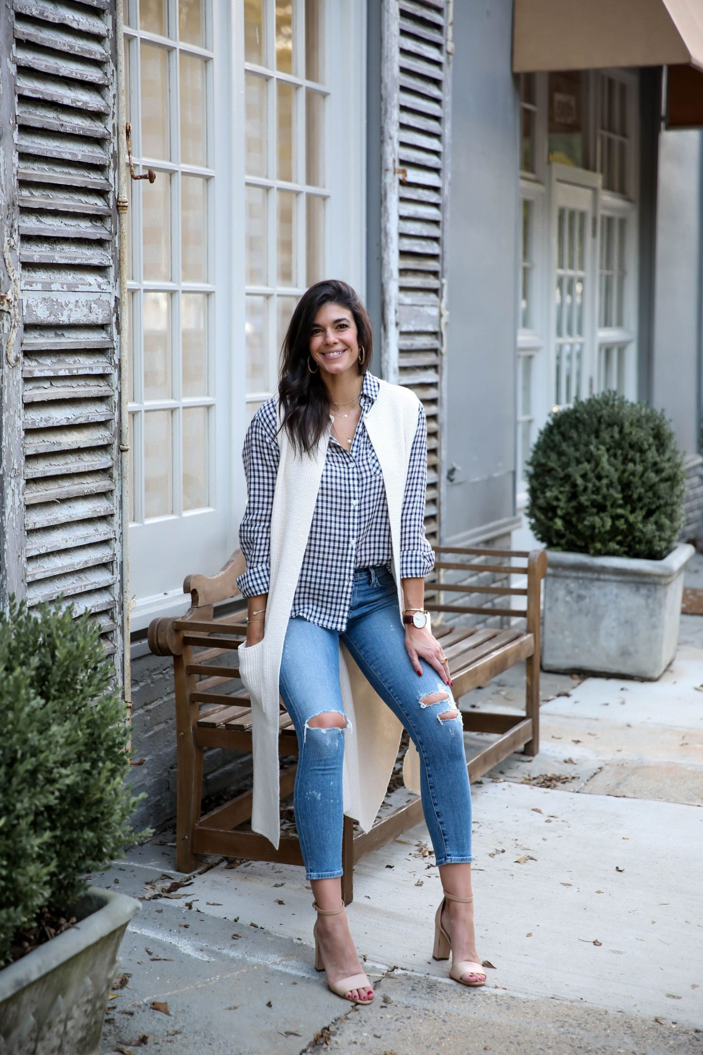 fall layers - checked button down - duster sweater vest - skinny jeans - Lauren schwaiger style blog