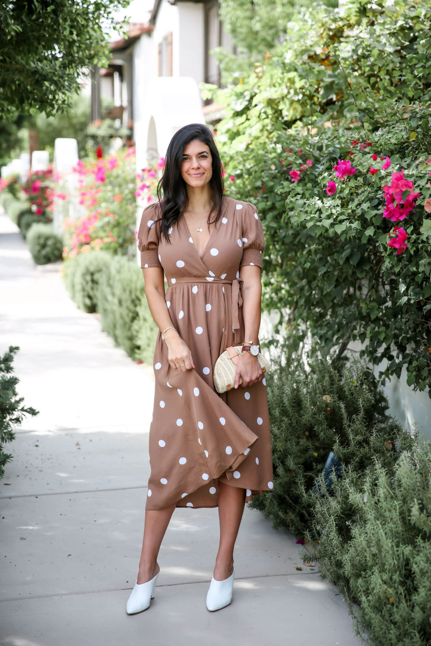 brown white polka dot dress - Lauren schwaiger style blog