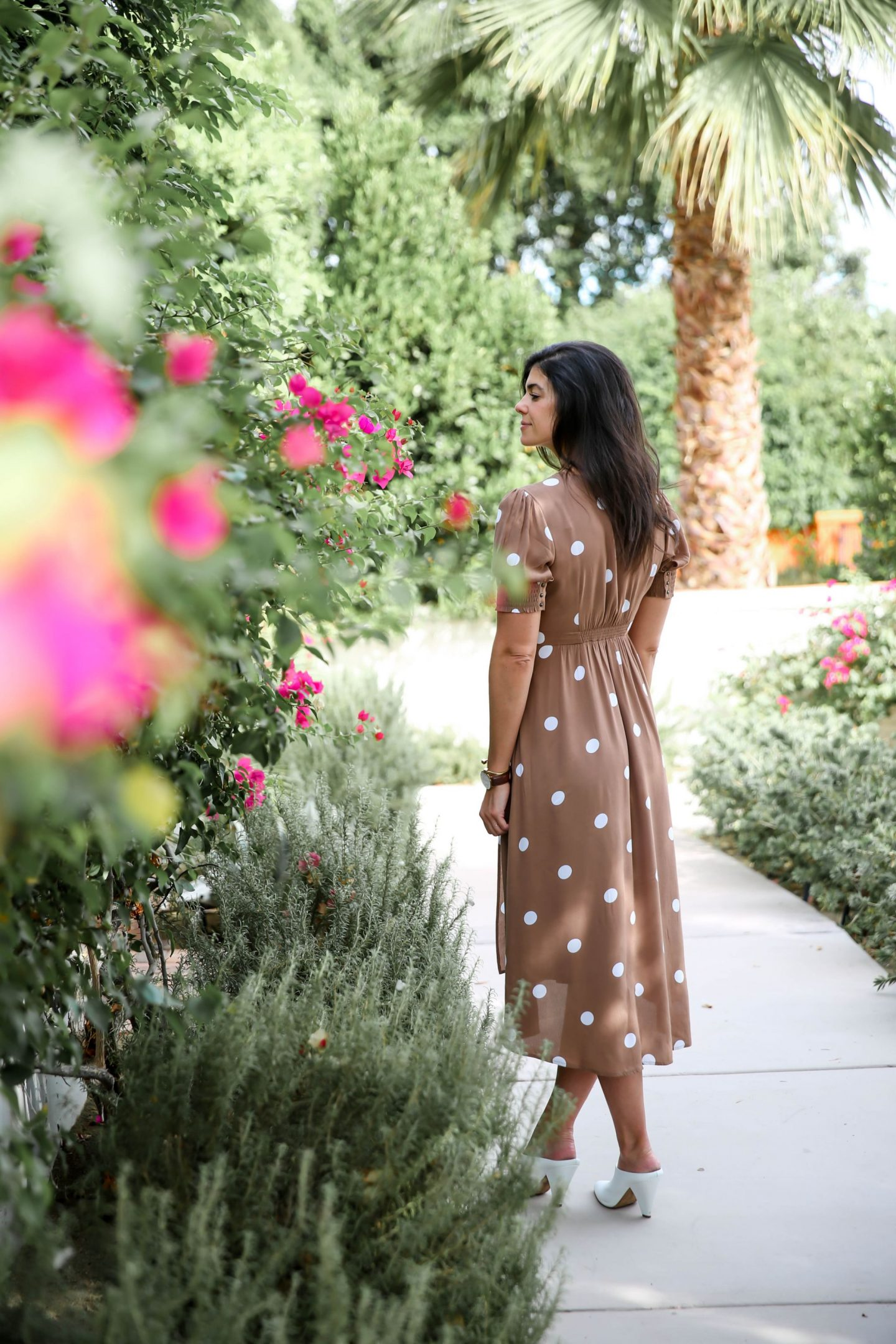 Palm Springs - polka dot dress - Lauren schwaiger