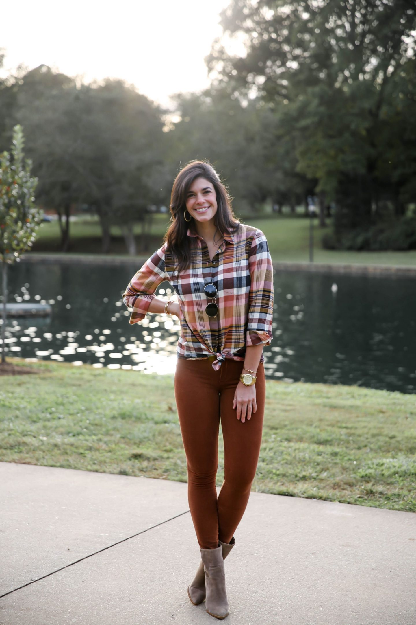 fall outfit ideas - plaid button down - corduroy pants - Lauren Schwaiger