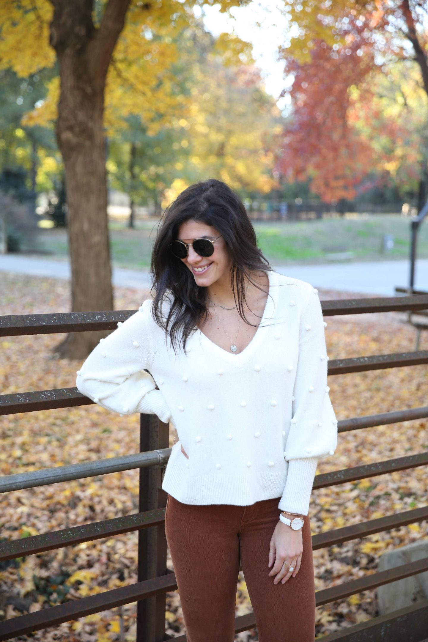 white V-neck sweater - winter style - Lauren Schwaiger Blog